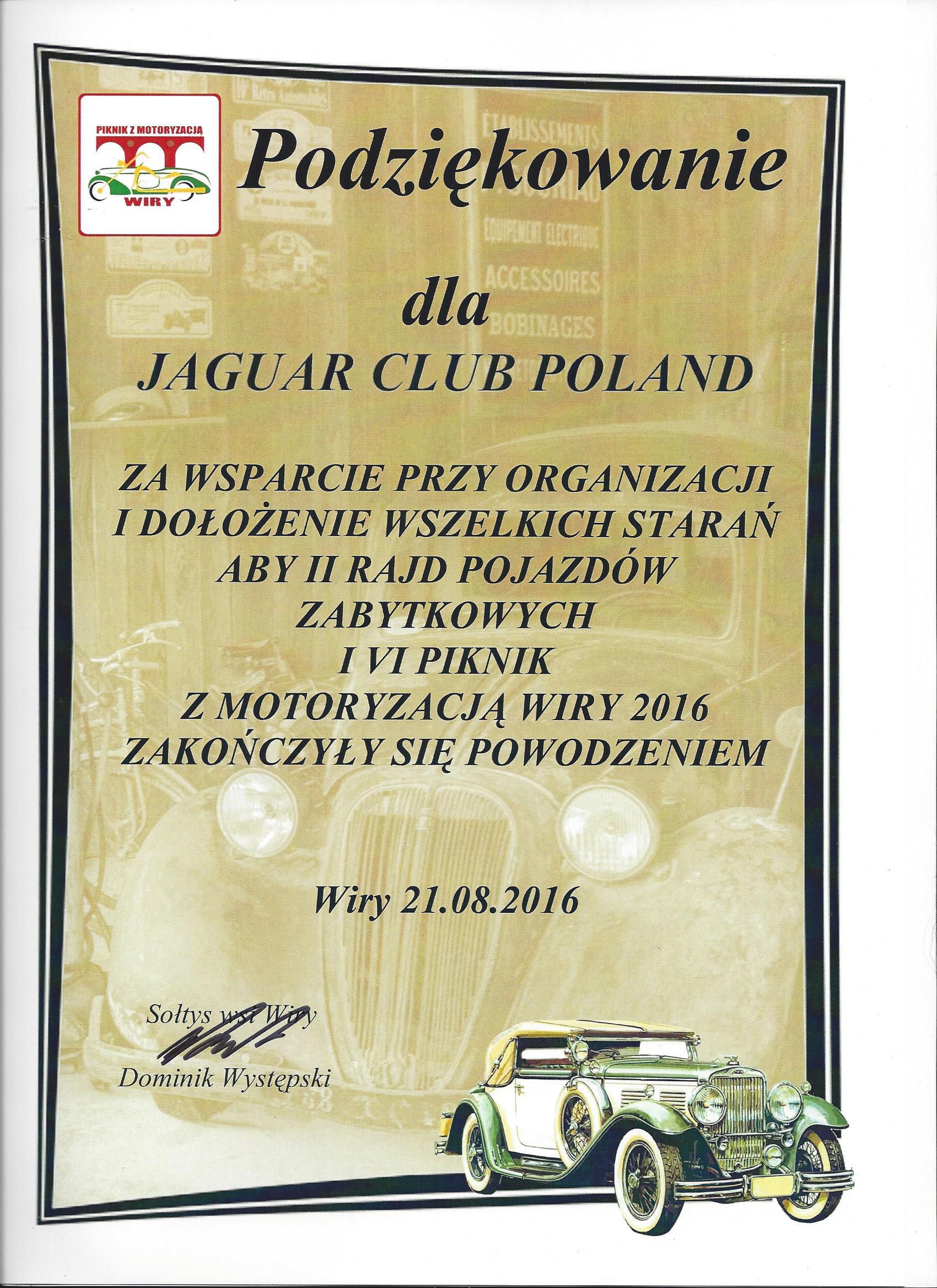Podziękowanie dla Jaguar Club - Wiry 2016