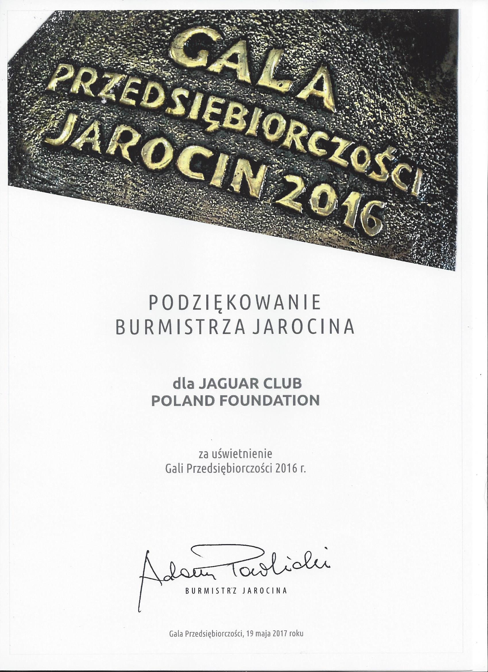 2017-05-19 - Podziękowanie dla Jaguar Club Poland Foundation